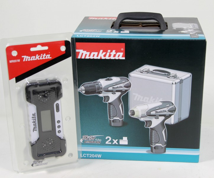 makita lct204w mr051w 10 8v akkuschrauber akkuradio bundle ebay. Black Bedroom Furniture Sets. Home Design Ideas